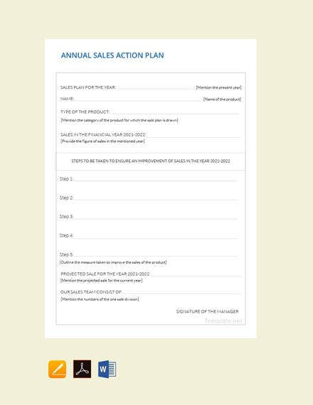 Annual Sales Plan Template