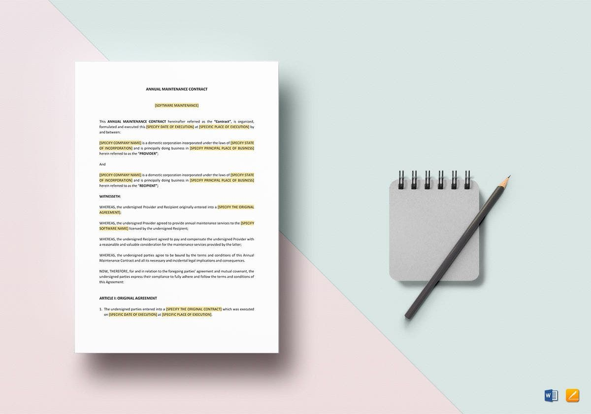 annual maintenance contract mockup