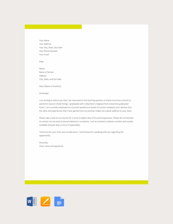 application letter for a primary school teaching job template