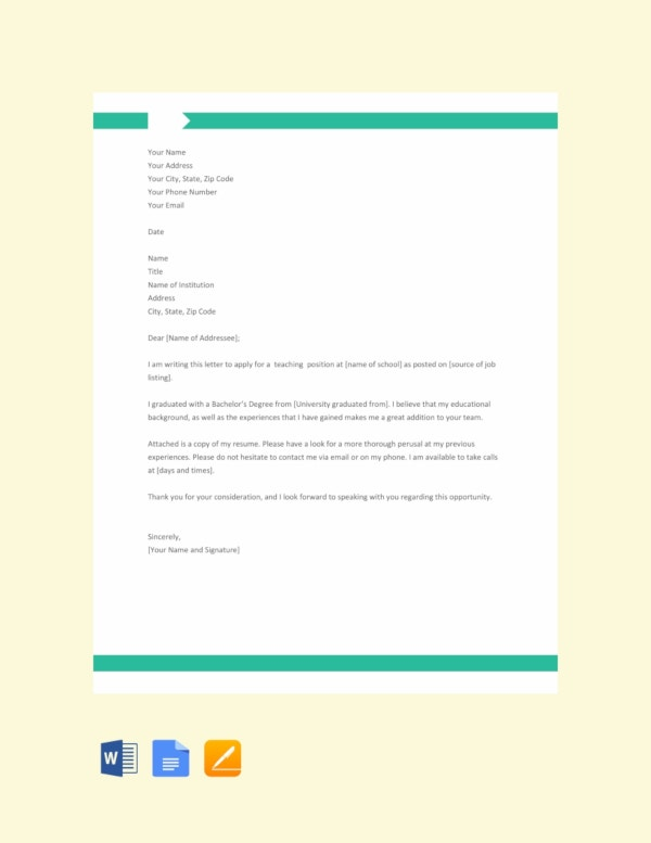 application letter for a teaching job template
