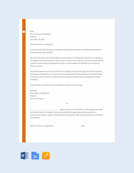 appointment letter template for employee