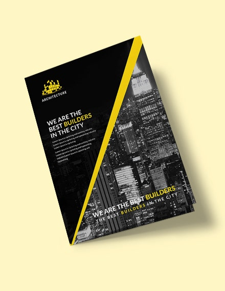 architecture construction bifold brochure template