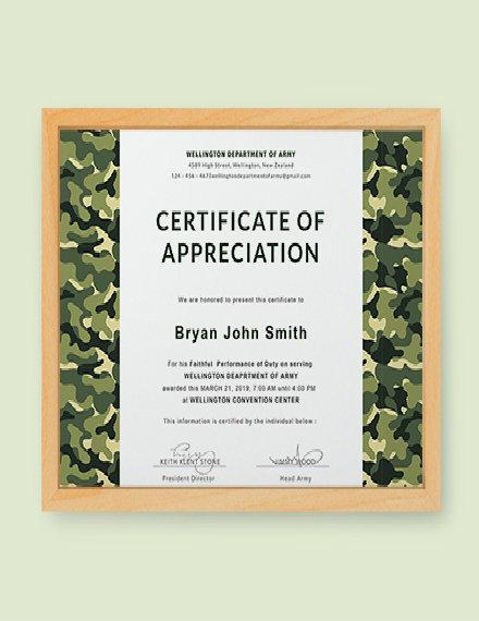 army appreciation certificate