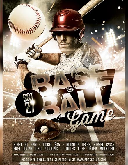 artistic baseball match flyer example