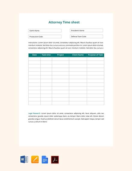 attorney time sheet
