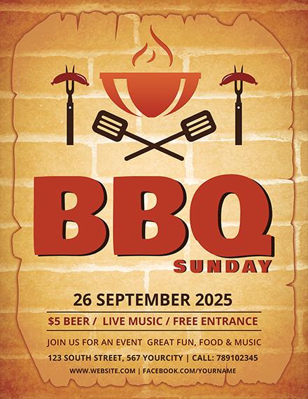 bbq sunday weekend flyer format