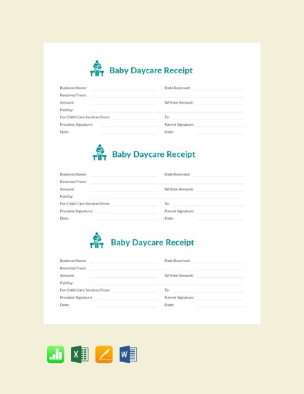 baby daycare receipt template