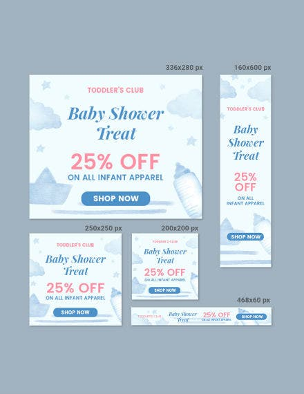baby shower banner psd template