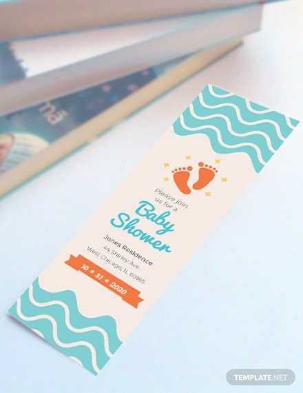 baby shower bookmark template in psd