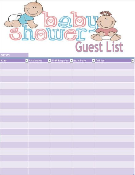 baby shower guest list template