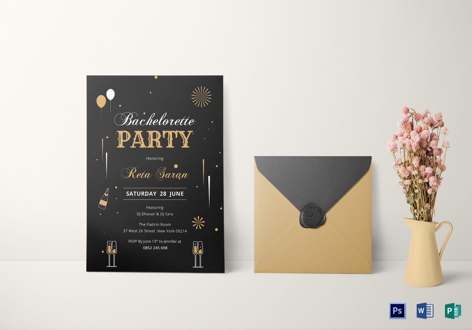 9+ Bachelorette Party Invitation Card Templates AI Word