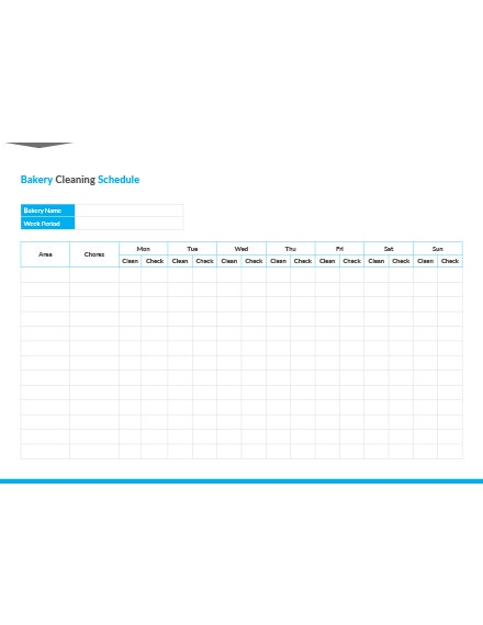 Bakery Cleaning Schedule