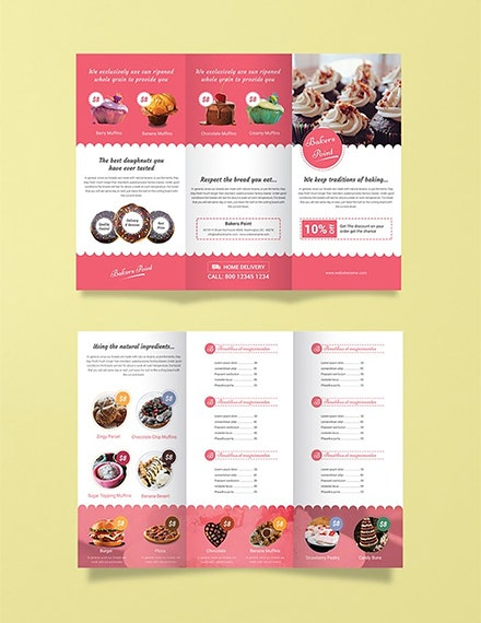 bakery tri fold brochure illustrator template