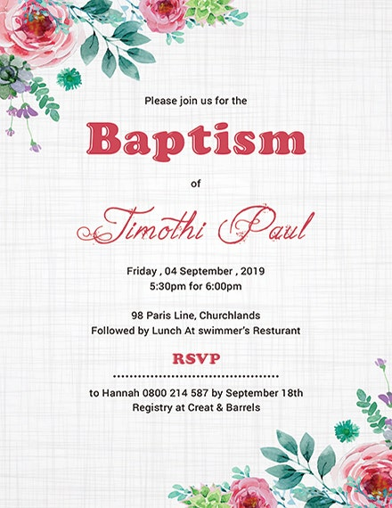 baptism invitation card psd template
