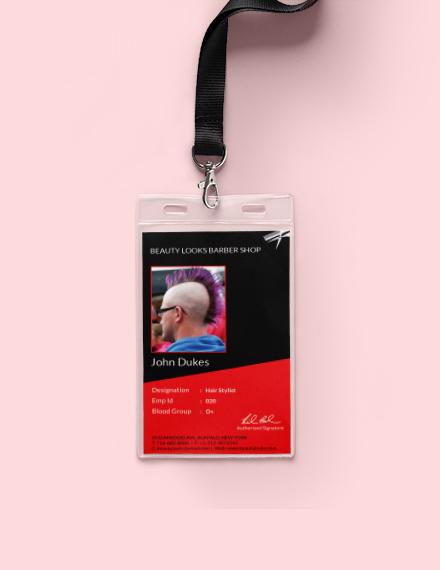 barbershop identity card template