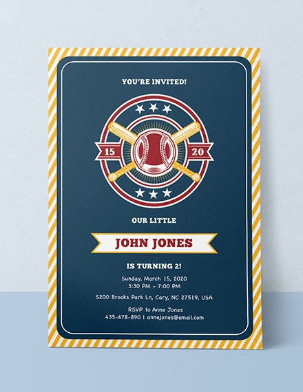 Baseball Birthday Sports Invitation Example