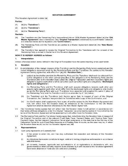 basic novation agreement template