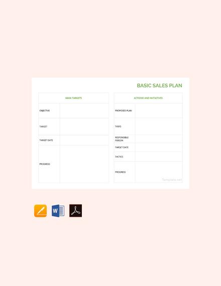 basic sales plan sample