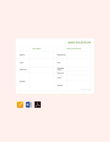 basic sales plan template