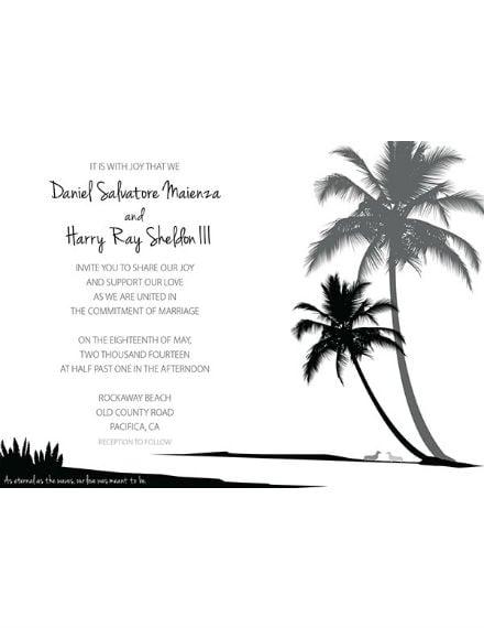 beach wedding invitation and rsvp template
