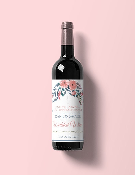 beach wedding wine label template