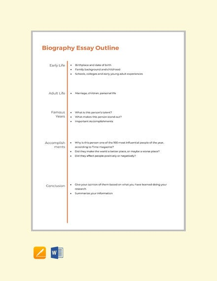 biography essay outline format template