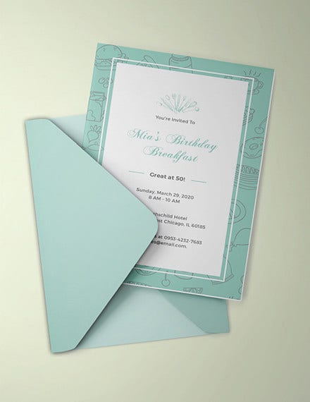 birthday breakfast invitation template