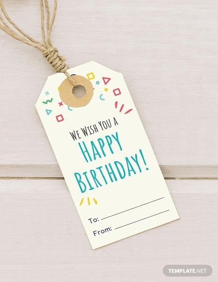 birthday gift tag psd template