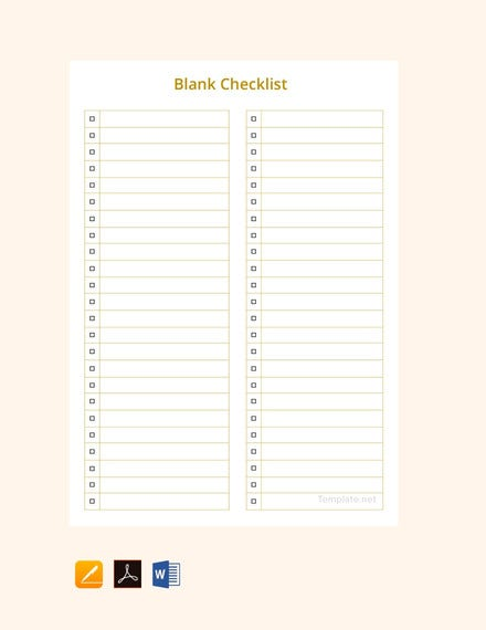 blank checklist sample