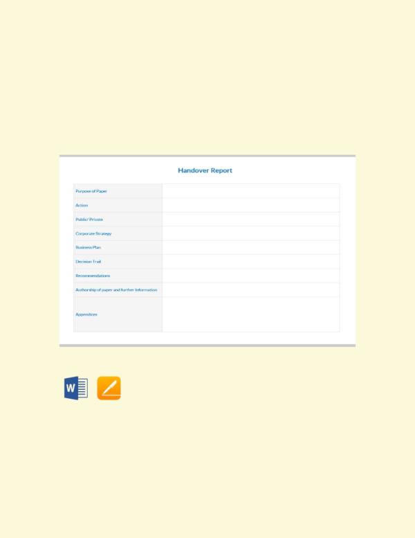 blank handover report template
