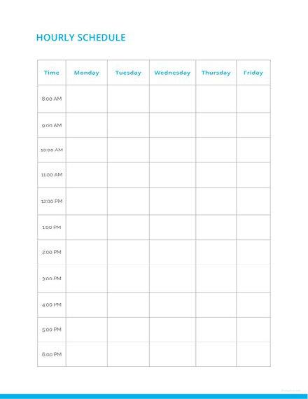 Blank Hourly Schedule