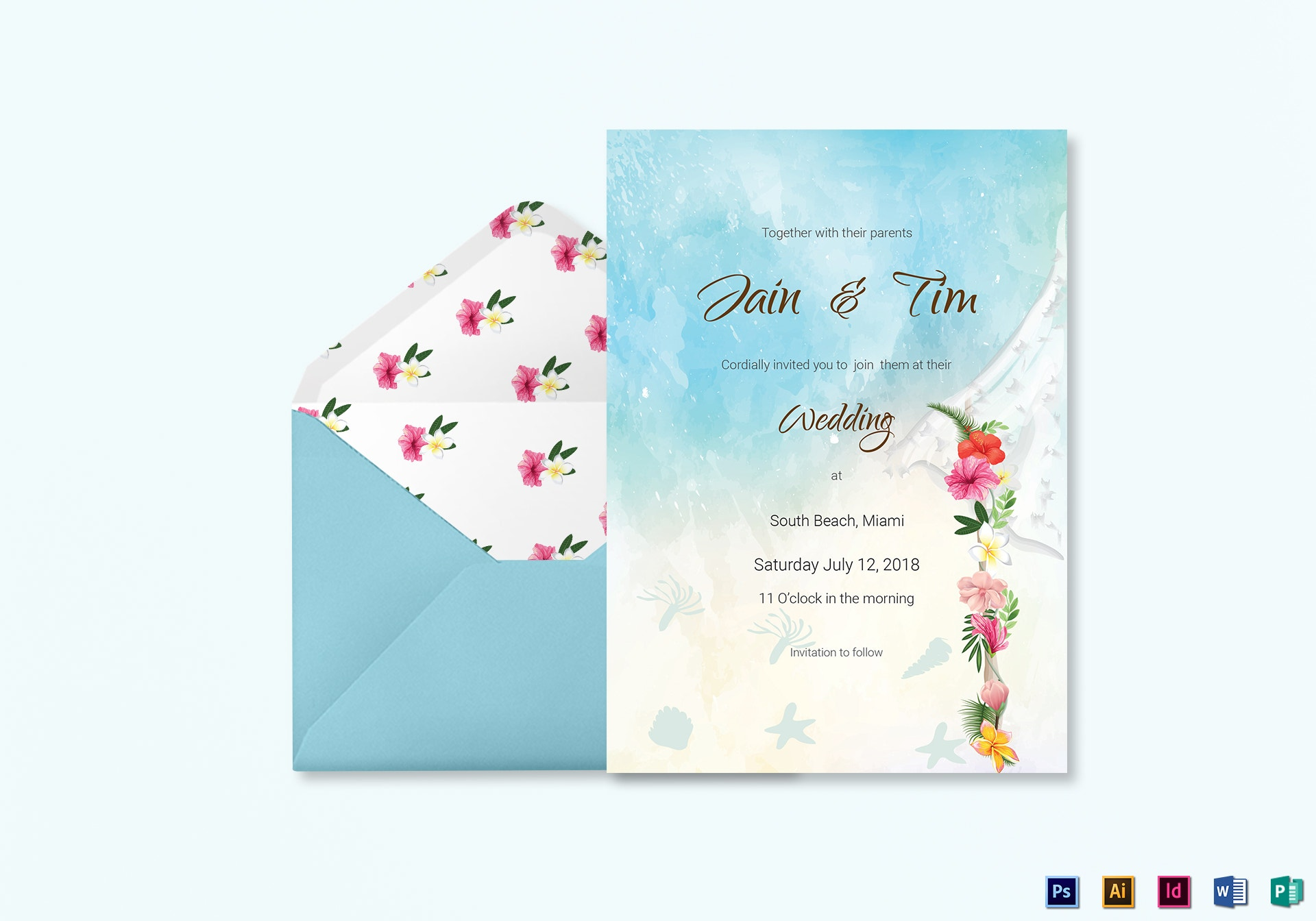 blue beach wedding invitation card template