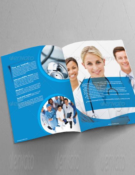 blue meditech bifold brochure layout