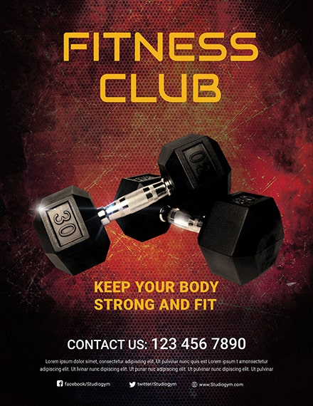 body fitness club flyer template 1x