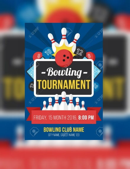 Bowling Tournament Sports Invitation Layout
