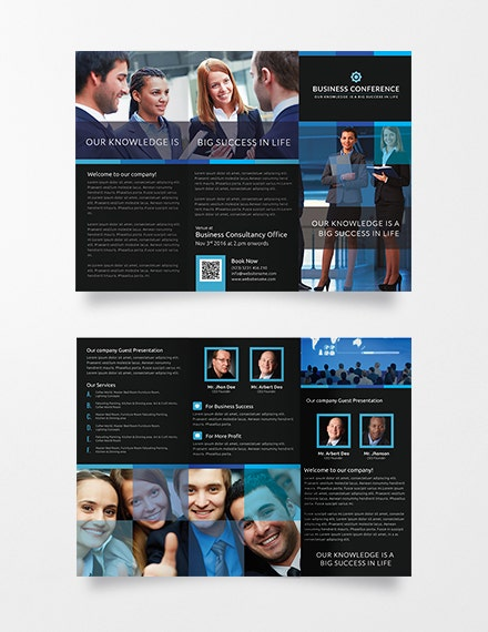 business conference trifold brochure sample