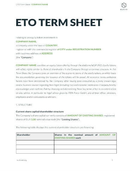 business equity term sheet example
