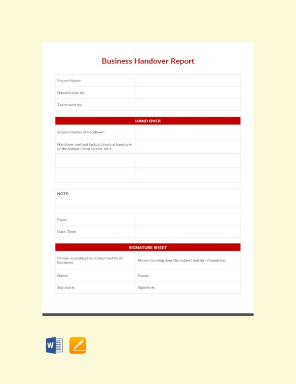 business handover report