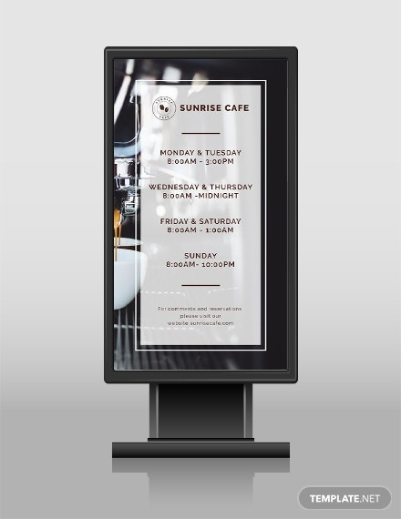 business hours digital signage template in psd