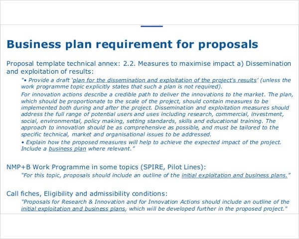 business plan requirement proposals
