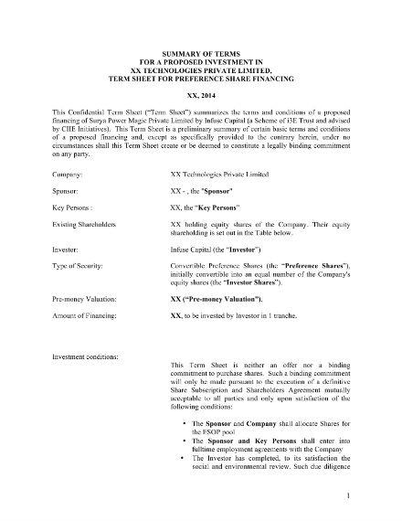 business proposal term sheet sample