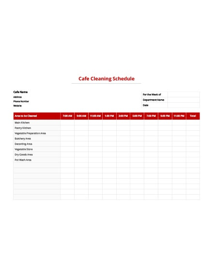 Cafe Cleaning Schedule