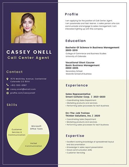 Call Center Photo Resume