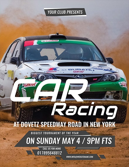 car racing flyer template 1x
