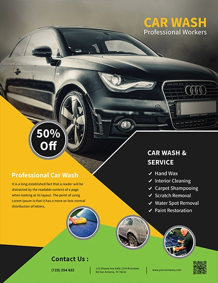 car wash service flyer template 1x