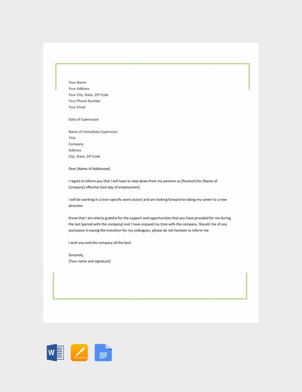 career change resignation letter template