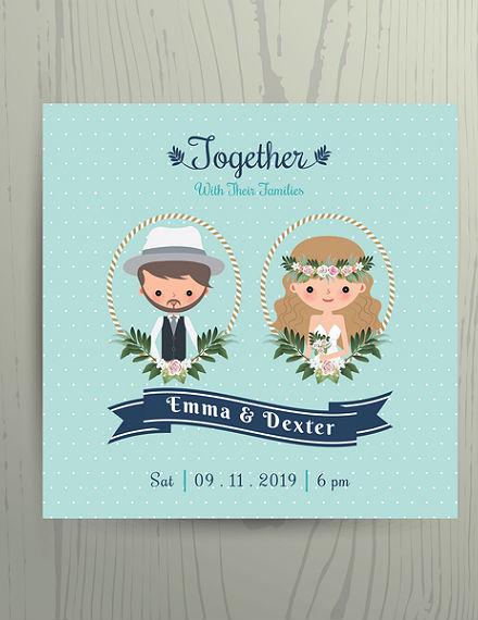 cartoon beach wedding invitation card template