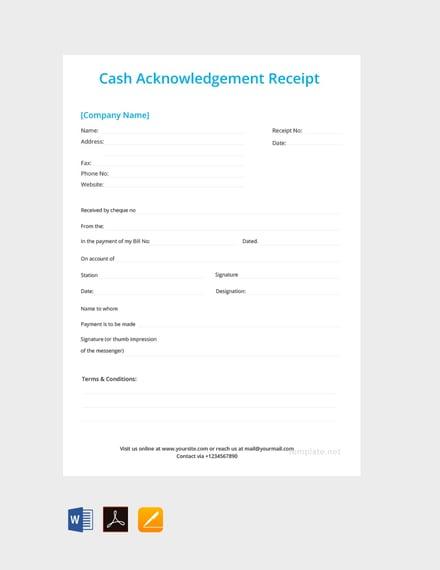 cash acknowledgement receipt template