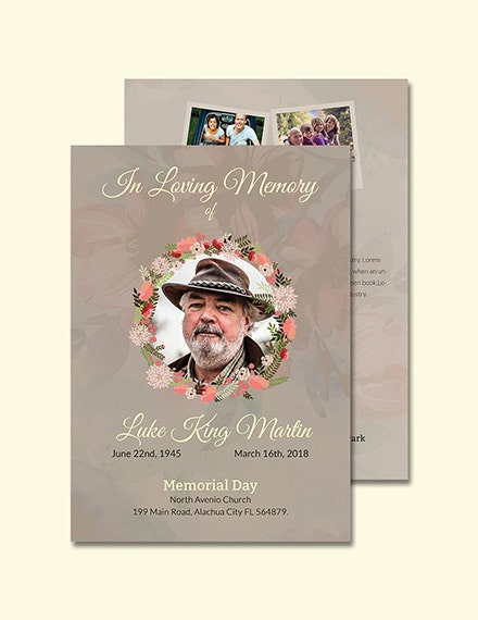 Catholic Funeral Program Invitation Template Example