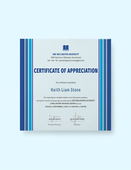 certificate of appreciation for training